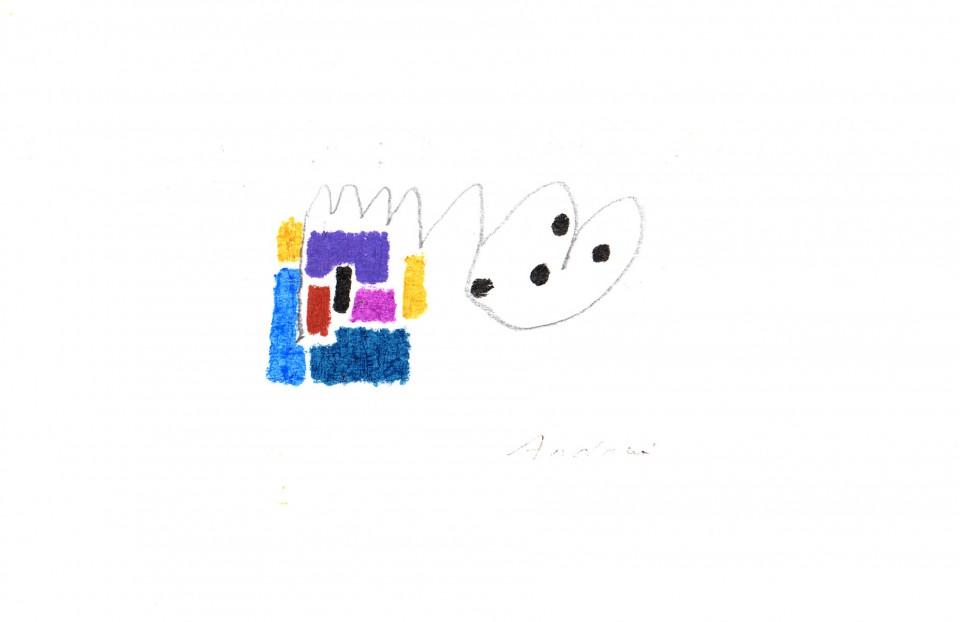 Jazz 1 - dibujos (2001) 20 x 20 cm. Serie JAZZ (Ceras y Lápiz sobre cartón)