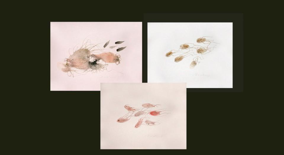 El mar, compo 3 - acuarelas - (2002) Serie EL MAR Acuarela, Gouache y lápiz sobre papel.