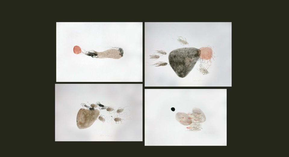 El mar, compo 5 - acuarelas - (2002) Serie EL MAR Acuarela, Gouache y lápiz sobre papel.