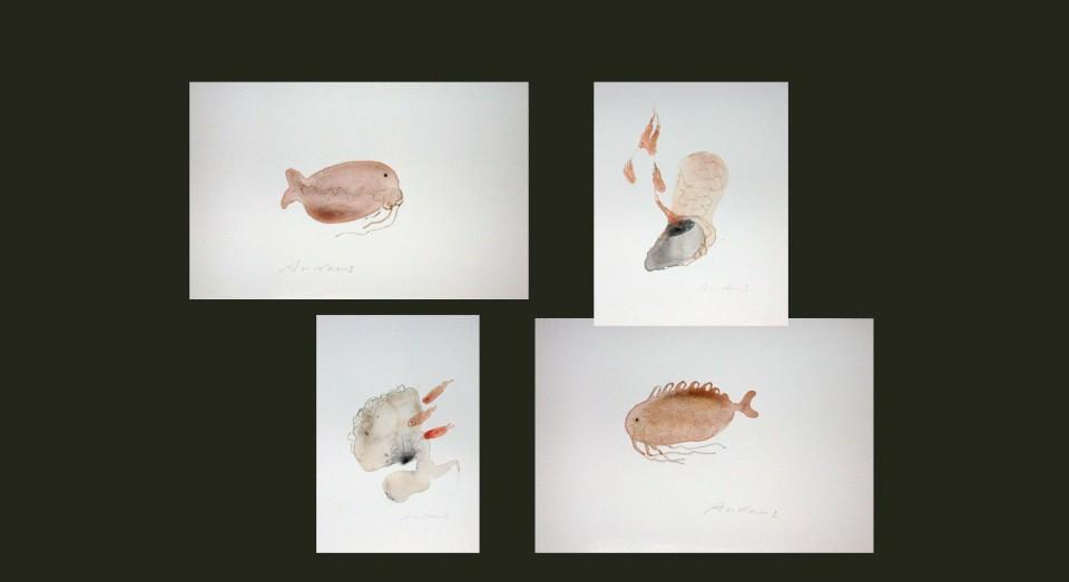 El mar, compo 6 - acuarelas - (2002) Serie EL MAR Acuarela, Gouache y lápiz sobre papel.