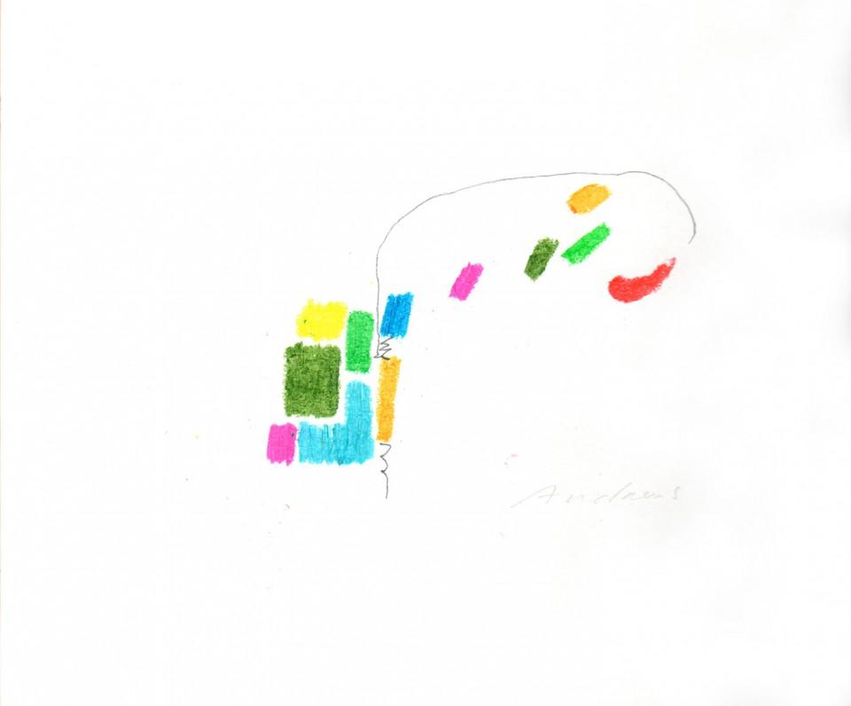 Jazz 7 - dibujos (2001) 20 x 20 cm. Serie JAZZ (Ceras y Lápiz sobre cartón)