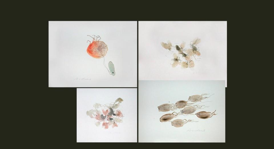 El mar, compo 7 - acuarelas - (2002) Serie EL MAR Acuarela, Gouache y lápiz sobre papel.