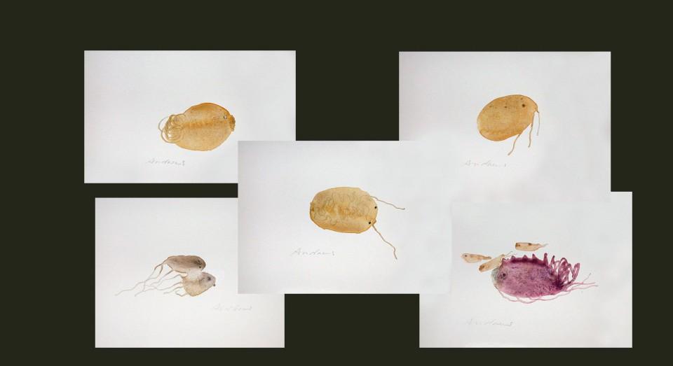El mar, compo 8 - acuarelas - (2002) Serie EL MAR Acuarela, Gouache y lápiz sobre papel.