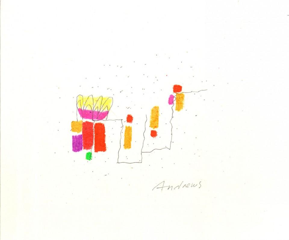 Jazz 9 - dibujos (2001) 20 x 20 cm. Serie JAZZ (Ceras y Lápiz sobre cartón)