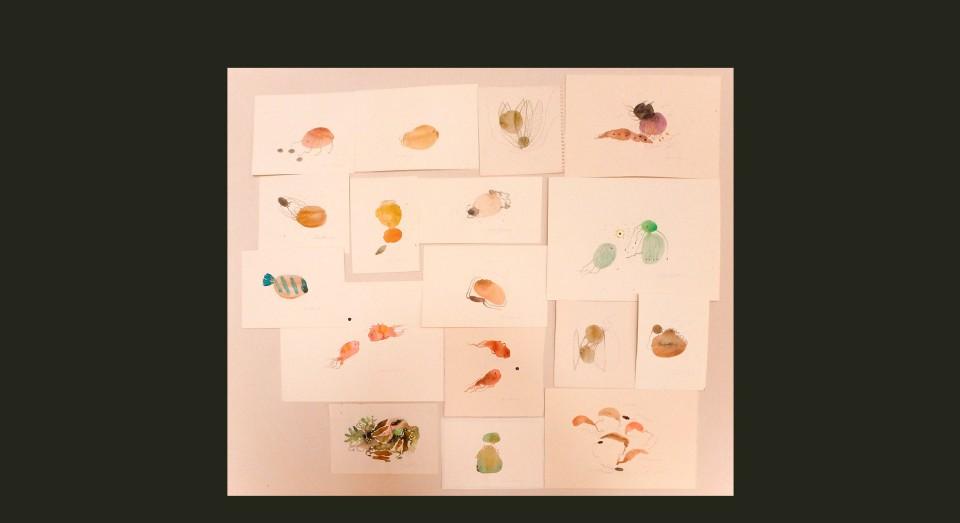 El mar - acuarelas varias 2 - (2002) Serie EL MAR Acuarela, Gouache y lápiz sobre papel.
