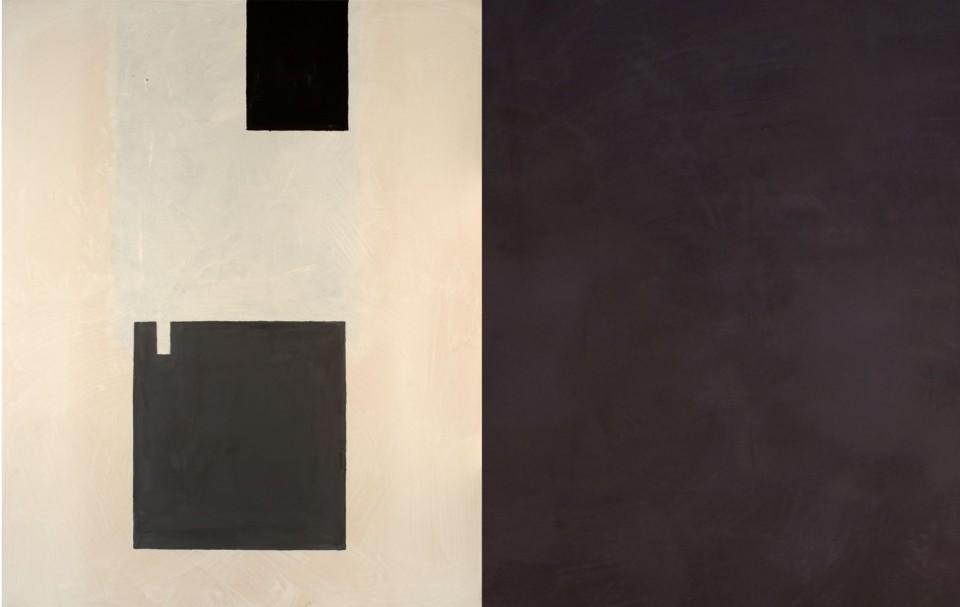 Cuadro 7 díptico - 2005 Acrílico y carboncillo sobre tela y caseína, 146 x 228 cm. JARDÍN DE LOS FRAILES