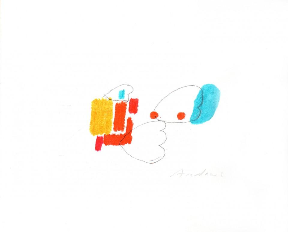Jazz 14 - dibujos (2001) 20 x 20 cm. Serie JAZZ (Ceras y Lápiz sobre cartón)
