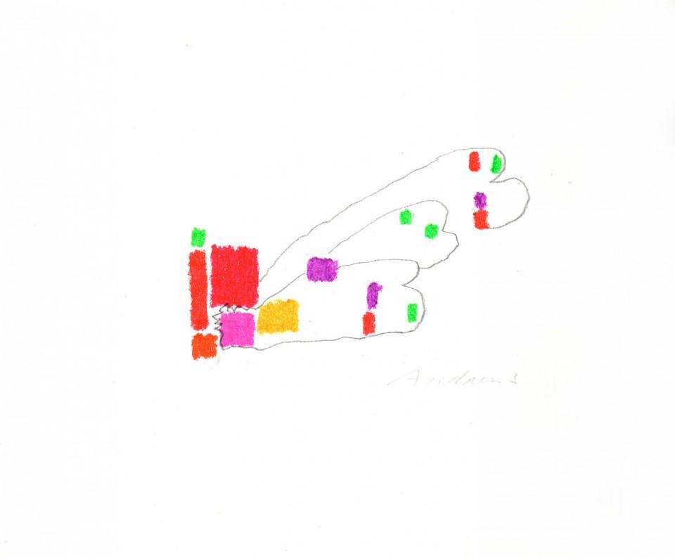 Jazz 15 - dibujos (2001) 20 x 20 cm. Serie JAZZ (Ceras y Lápiz sobre cartón)