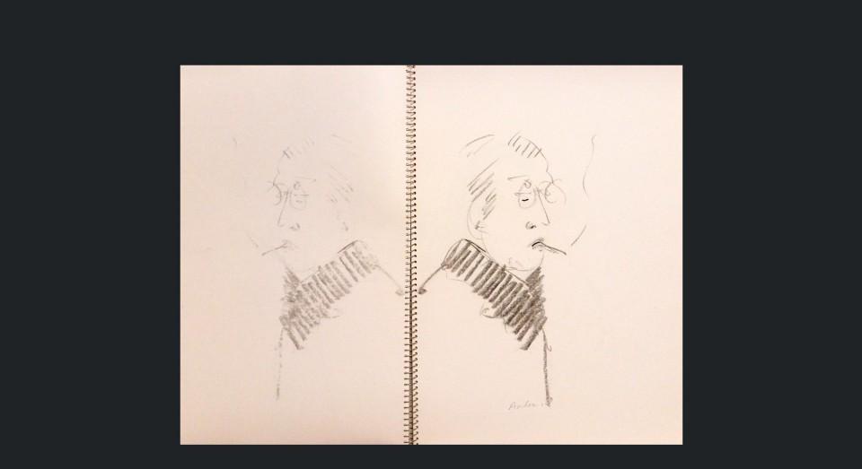 Hombre con pitillo - carboncillo sobre cartón (1980)