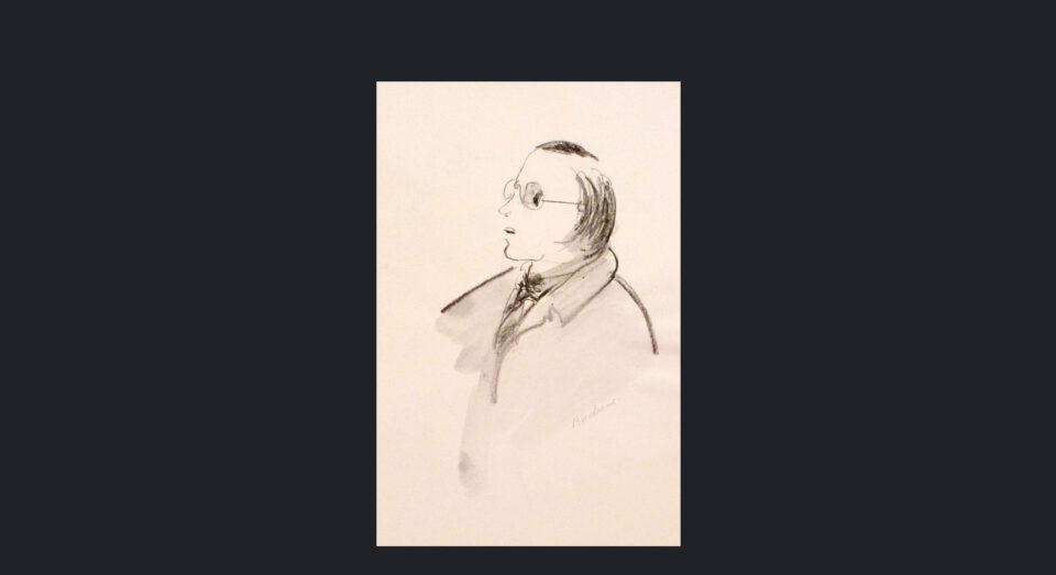 Hombre con gafas - carboncillo sobre cartón (1980)