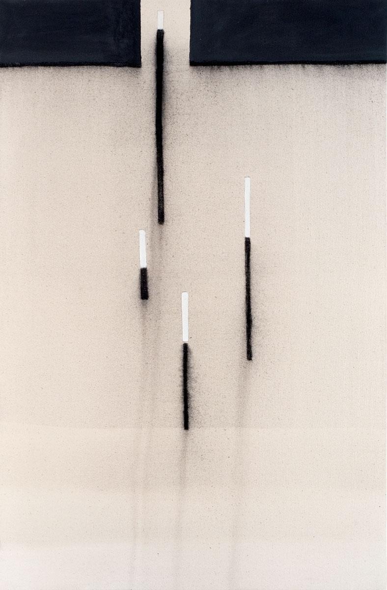 Cuadro 9 (2007) Acrílico y carboncillo sobre tela y caseína.