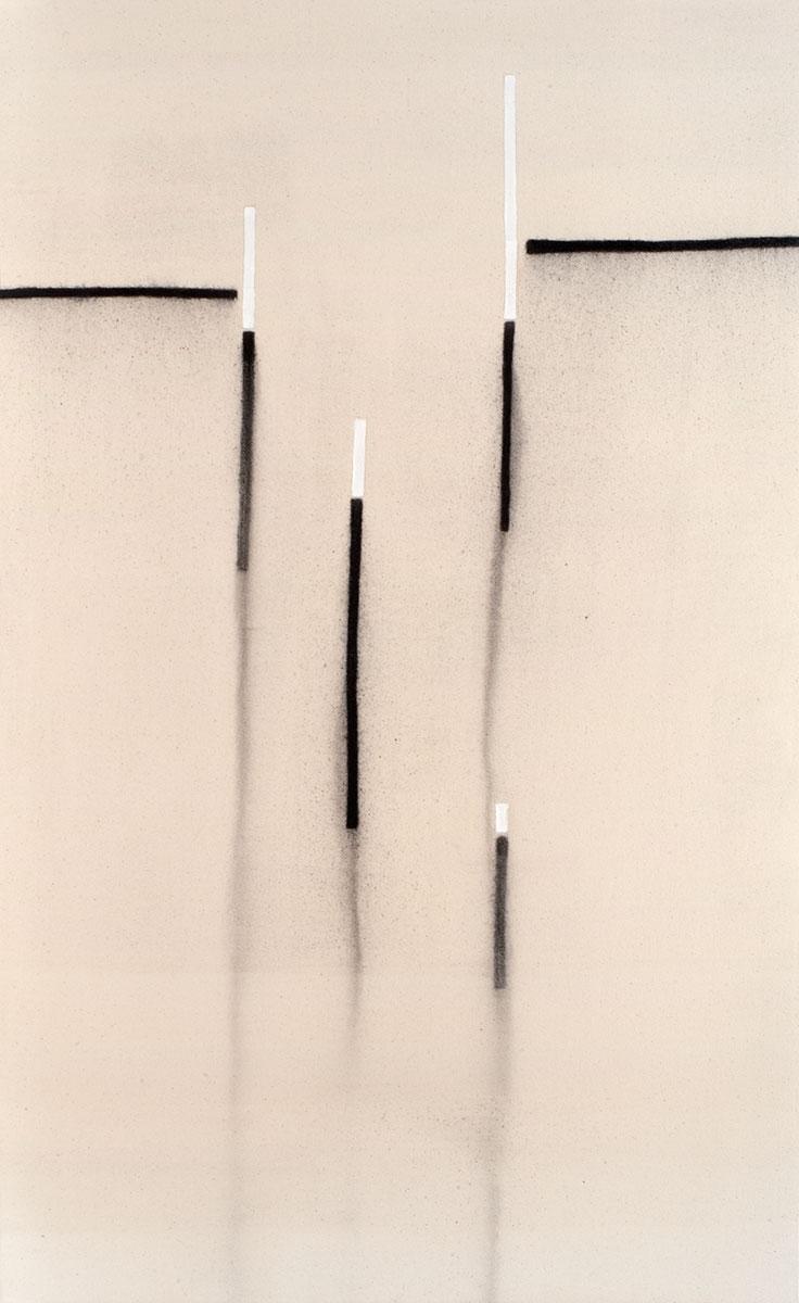 Cuadro 10 (2007) Acrílico y carboncillo sobre tela y caseína.