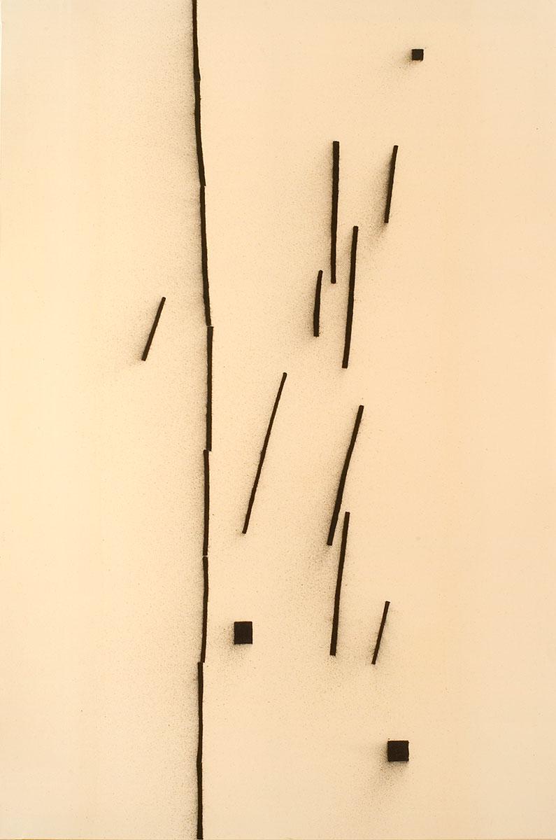 Cuadro 8 (2007)  Acrílico y carboncillo sobre tela y caseína. 195 x 130 cm.