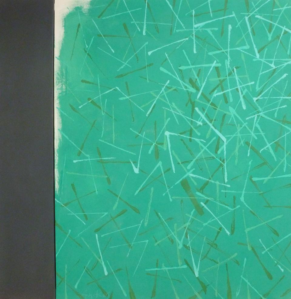 Twigs 2 green (2015) 146x114+27 cm.