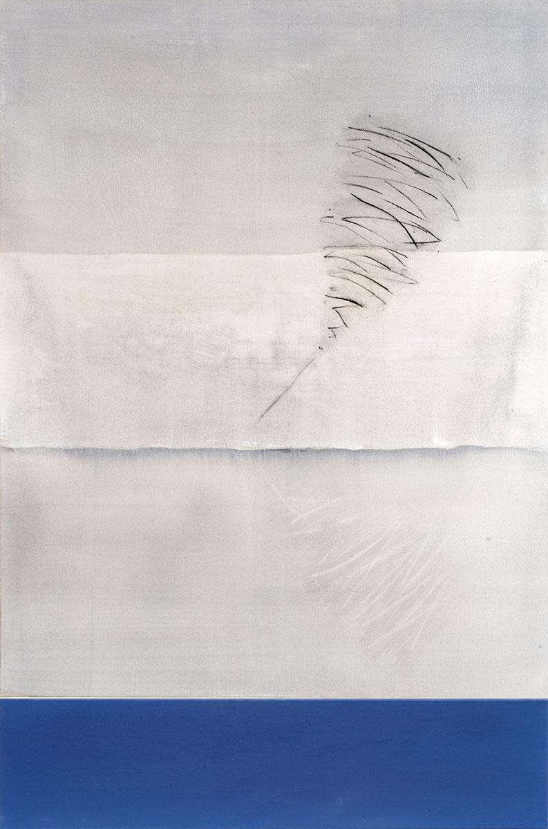 Fuentes 1 (2003)  173 x 114 cm. Serie FUENTES Acrílico y carboncillo sobre tela y caseína.