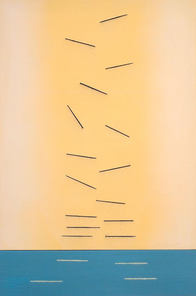 Fuentes 2 (2003) 173 x 114 cm. Serie FUENTES Acrílico y carboncillo sobre tela y caseína.