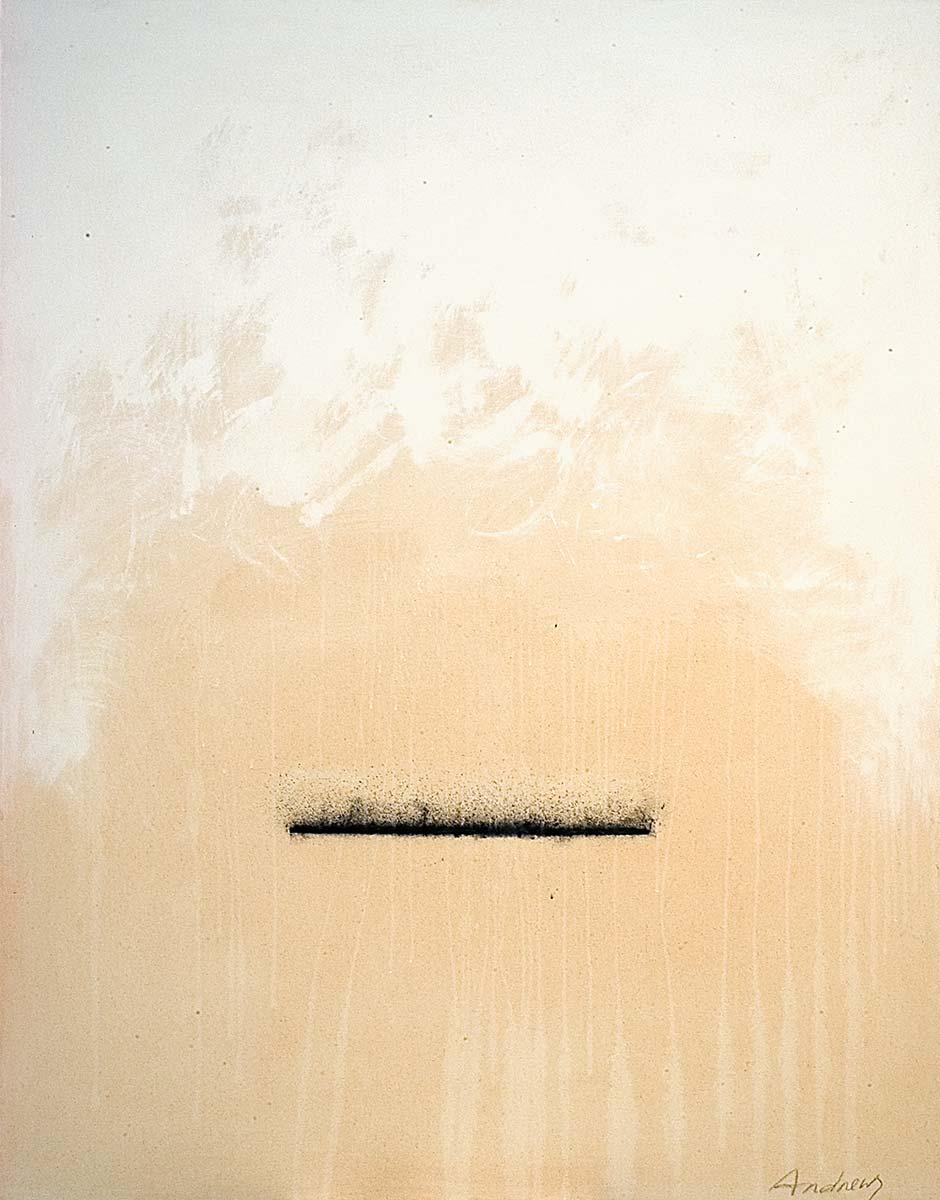 Fuentes 6 (2003)  146 x 114 cm. Serie FUENTES Acrílico y carboncillo sobre tela y caseína.