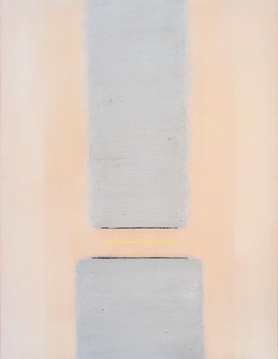Fuentes 14 (2003)  146 x 114 cm. Serie FUENTES Acrílico y carboncillo sobre tela y caseína.